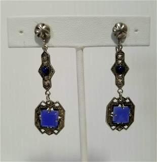 Beautiful Sterling Silver Agate Lapiz Lazuli Earrings