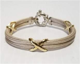 Vintage MB 925 Sterling 14KT Mesh Bracelet