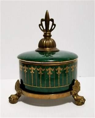 Beautiful Hand Painted Bronze Porcelain Box