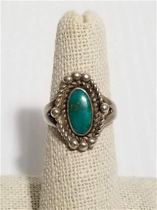 Beautiful Sterling Silver Green Turquoise Ring