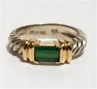 Beautiful 925 14KT Solid Green Emerald Ring