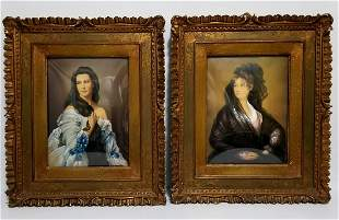 Antique Hand Painted Signed Hill Portrait Frame Pair