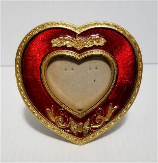 Vintage Enamel Red Heart Picture Frame