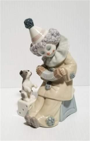 Beautiful Lladro 1985 Clown & Dog Playing Music