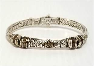 Konstantino Phidias Silver Hinged Cuff Bracelet