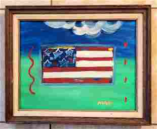 Peter Max Flag Oil Canvas