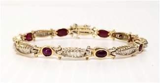 Stunning 14 KT Gold, Diamond & Ruby Cabuchon Bracelet