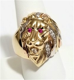 Amazing 14KT Red Ruby Lion Ring