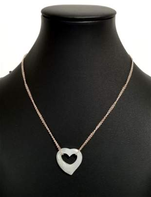 Nice 925 Sterling Jade Heart Necklace