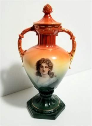 Amazing Austria Hand Painted Lady Vase