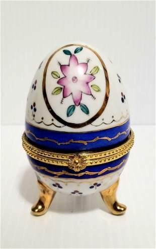 Beautiful Hand Painted Egg Trinket Box