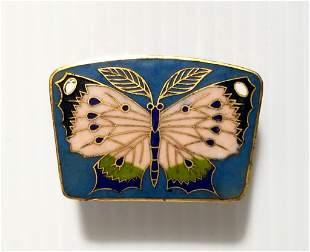 Beautiful Cloisonne Enamel Butterfly Trinket Box