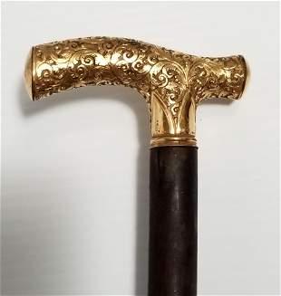 Amazing 18KT Gold Filled Hand Carved Walking Stick