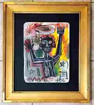 Amazing Jean Michel Basquiat Oil on Wood