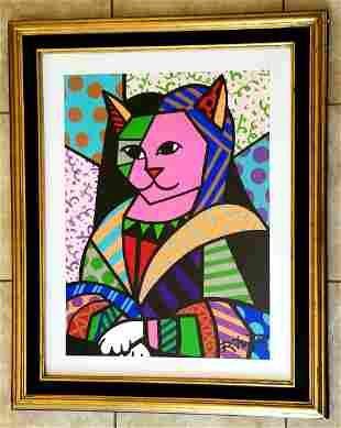 Beautiful Romero Britto Mona Cat Acrylic Canvas