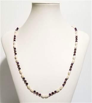 Amazing 14KT Mother of Pearl Amethyst Necklace