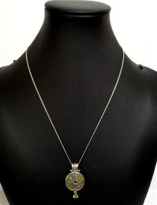 Amazing 925 Green Jade Pendant Necklace