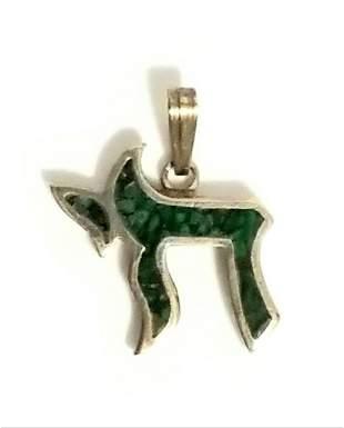 Nice 925 Sterling Green Stone Pendant