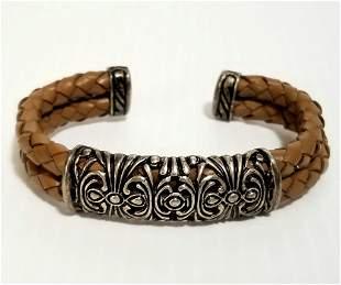 Joseph Esposito Sterling & Leather Bracelet