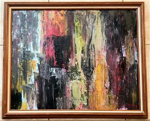 Amazing Michael Goldberg Abstract Oil Canvas