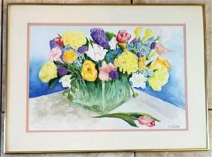 Richard Jerzy Flowers Watercolor/Paper