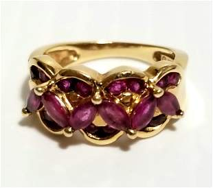 Beautiful 14KT Red Ruby Flowers Ring
