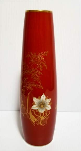 Vintage Jaeger Bavaria Floral Porcelain Vase