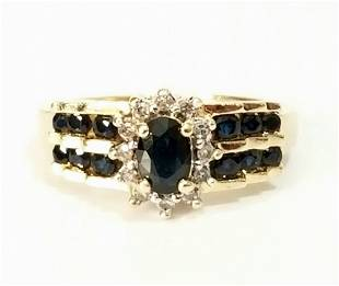 Amazing 14KT Dark Blue Sapphire Diamond Ring