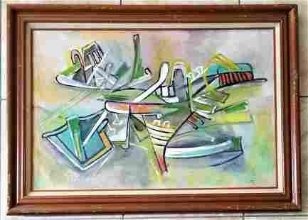 Amazing Roberto Matta Large Oil Canvas