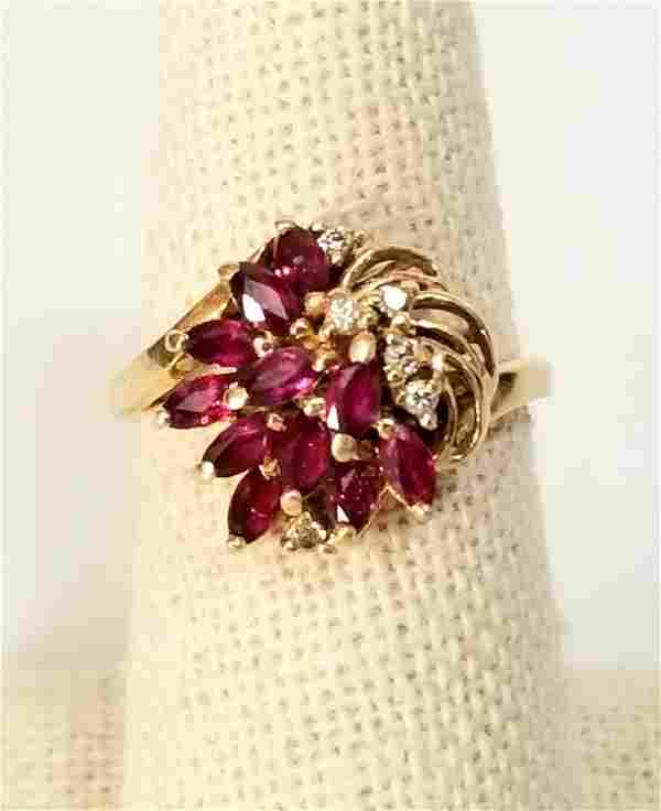Amazing 14KT Red Ruby Diamond Ring