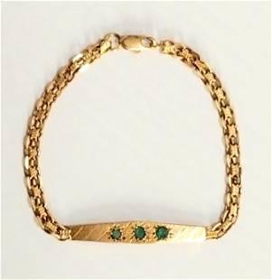 Amazing 14KT Gold Green Emerald Bracelet