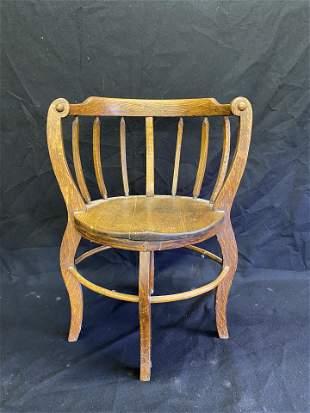 Antique Oak Barrell Form Chair