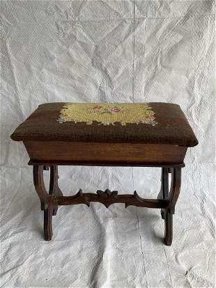 Victorian Walnut Sewing Storage Bench