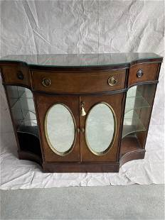 Vintage Server with Oval Mirrored Doors