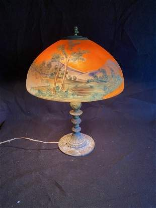 Antique Reverse Painted Table Lamp
