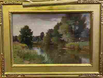 Oil on Canvas Painting - Rural Scene by Ernest Parton