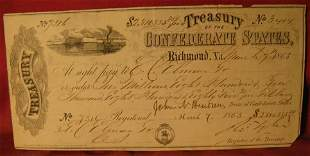 Extremely Rare dated March 7th 1865 Confederate States