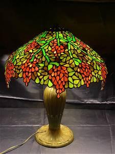 Handel Wisteria Lamp, rim signed