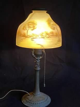 Antique Handel Boudoir Lamp, rim signed