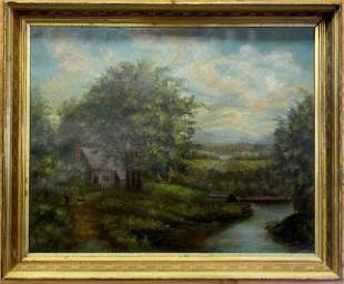 Antique Oil on Canvas Painting Country Scene