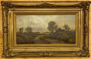 Antique Oil on Canvas Painting - Cottage