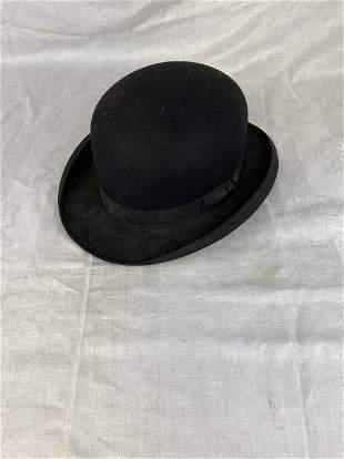 Antique Black Bowler Derby Hat