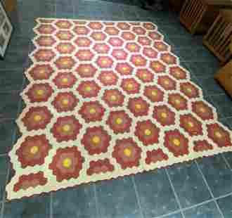 Quilt: Antique Hand Stitched Flower Garden Design