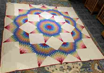Quilt: Semi-Antique Hand Stitched Star Design