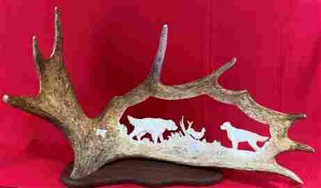 Artist signed Moose Antler Carving by Monte Baker