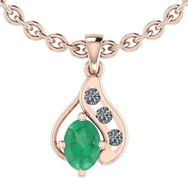 Certified 1.80 Ctw Emerald And Diamond I1/I2 10K Rose G