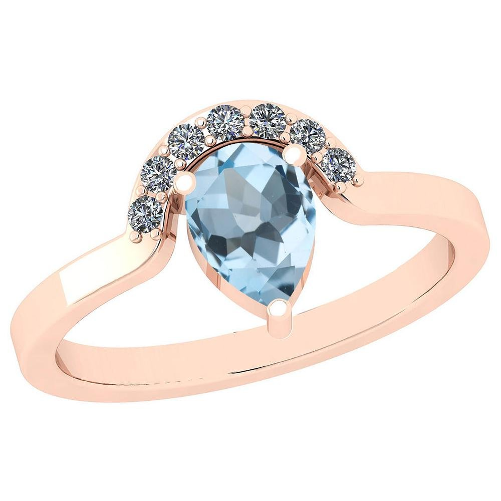 Certified 0.89 Ctw Blue Topaz And Diamond SI2/I1 14K Ro