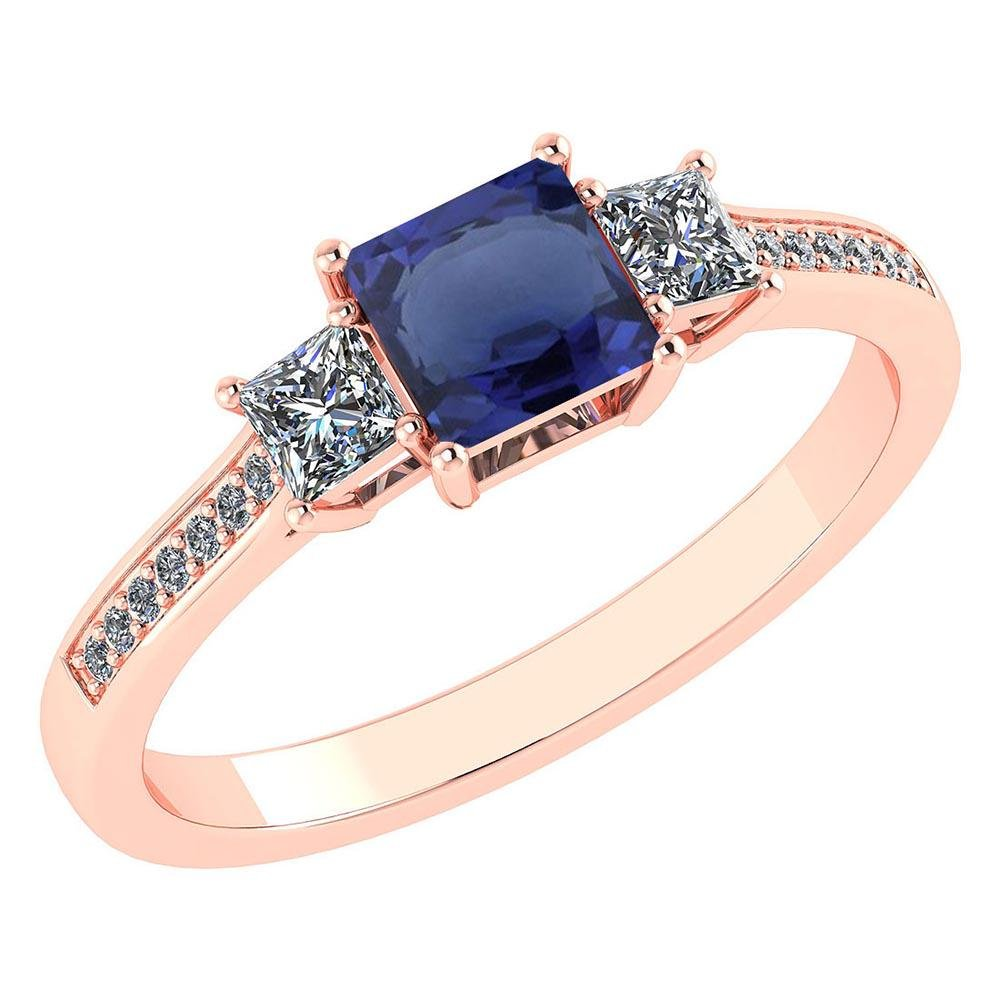 Certified 1.18 CTW Genuine Blue Sapphire And Diamond 14