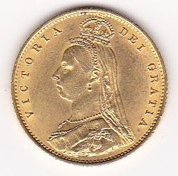 Great Britain half sovereign gold 1887-1893 VF-XF
