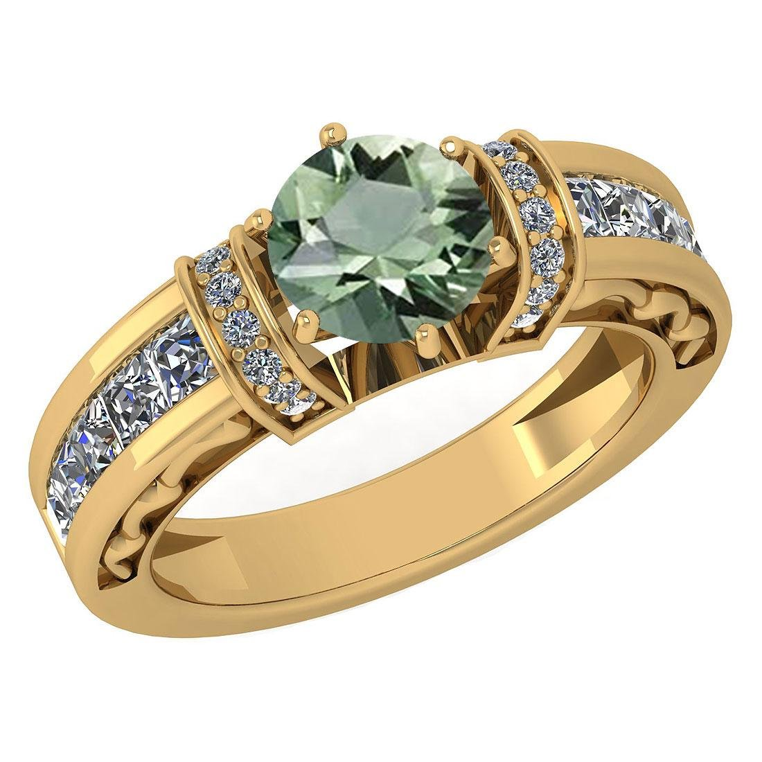 Certified 2.15 Ctw Green Amethyst And Diamond Ladies Fa